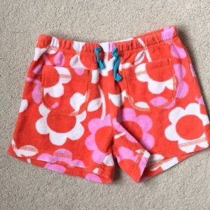 Girls Mini Boden Floral Toweling Terry Shorts  5T